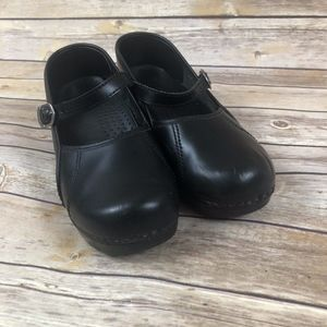 Dansko Mary Jane Black Leather Strap Shoes